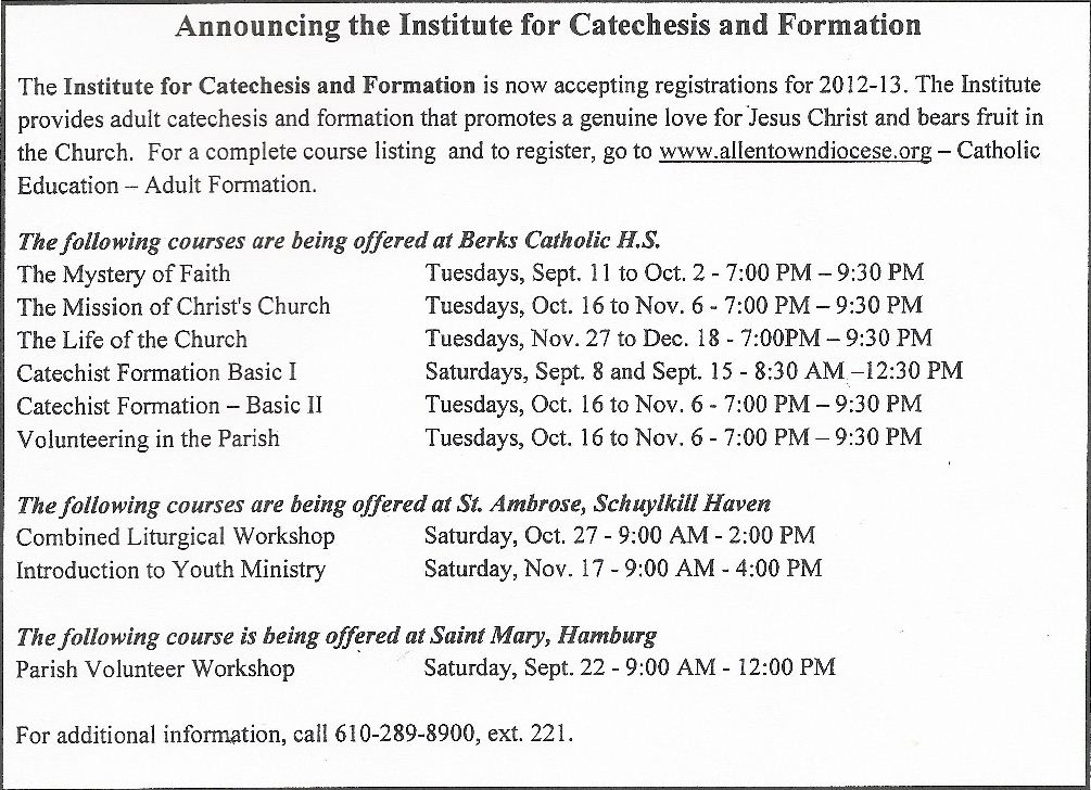 Announcing the Institue for Catechesis and Formation | St Margaret