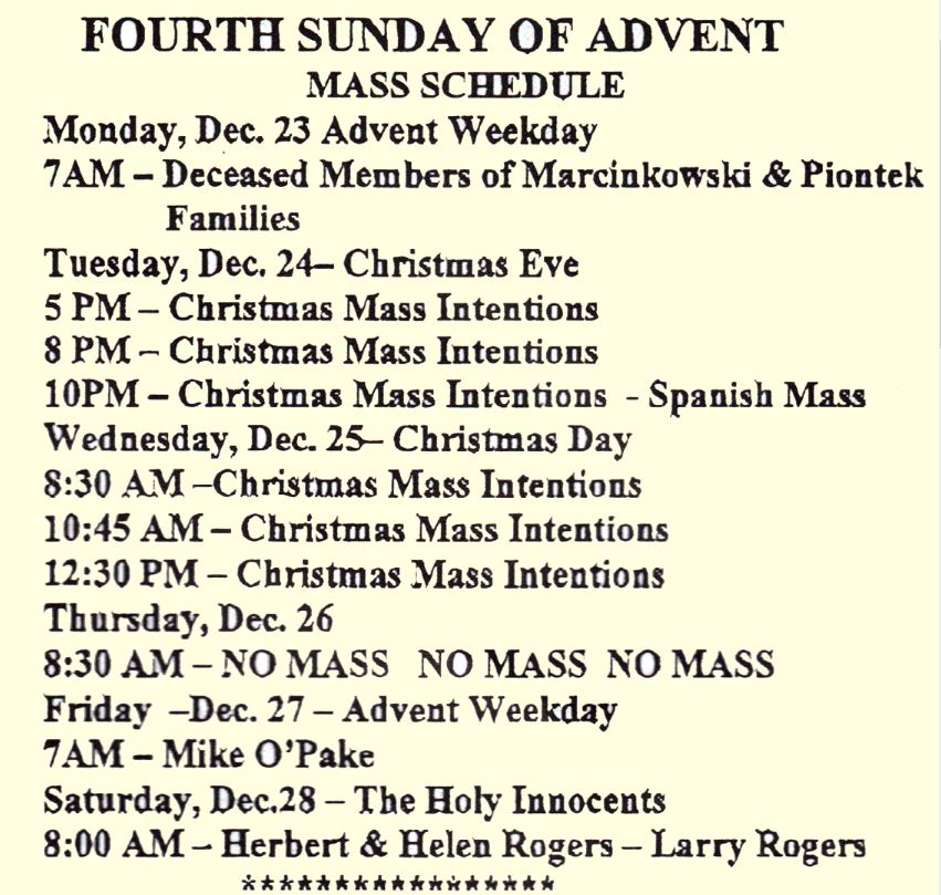 Mass schedule for thefourth sunday of advent st margarets roman