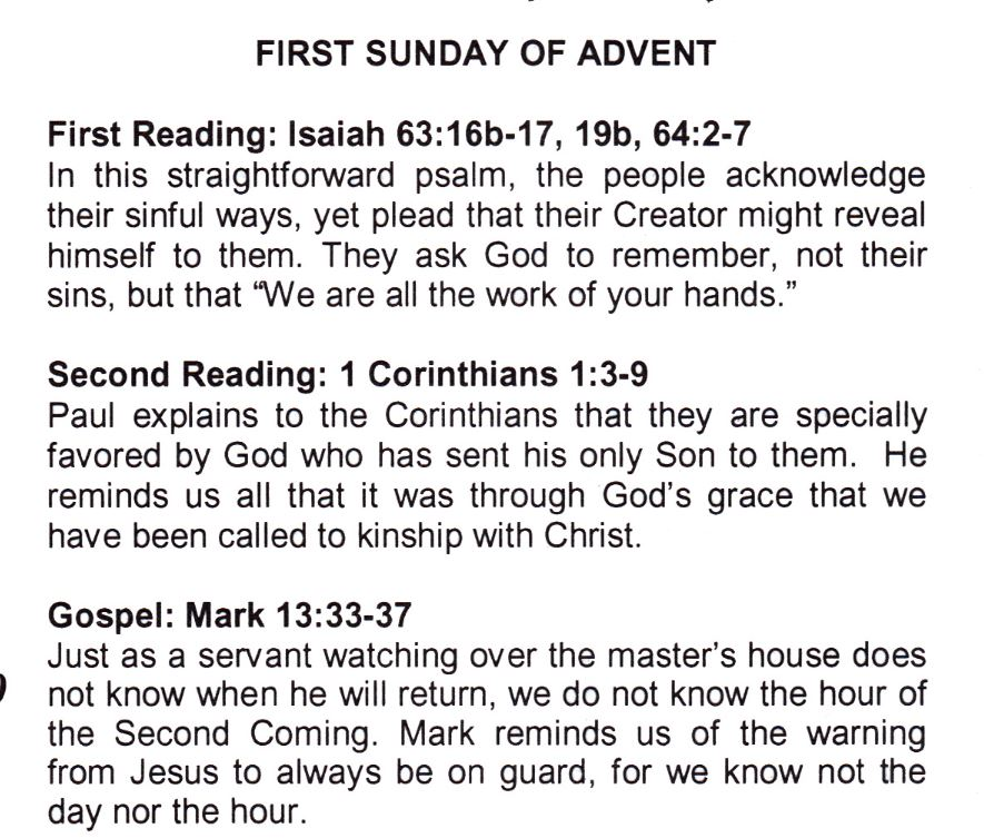 readings for the first sunday on advent st margaret. Black Bedroom Furniture Sets. Home Design Ideas