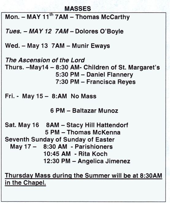 Mass Schedule for 11-17 May 2015 | St Margaret Roman
