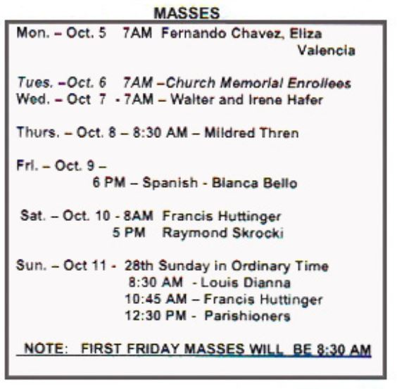 mass for week