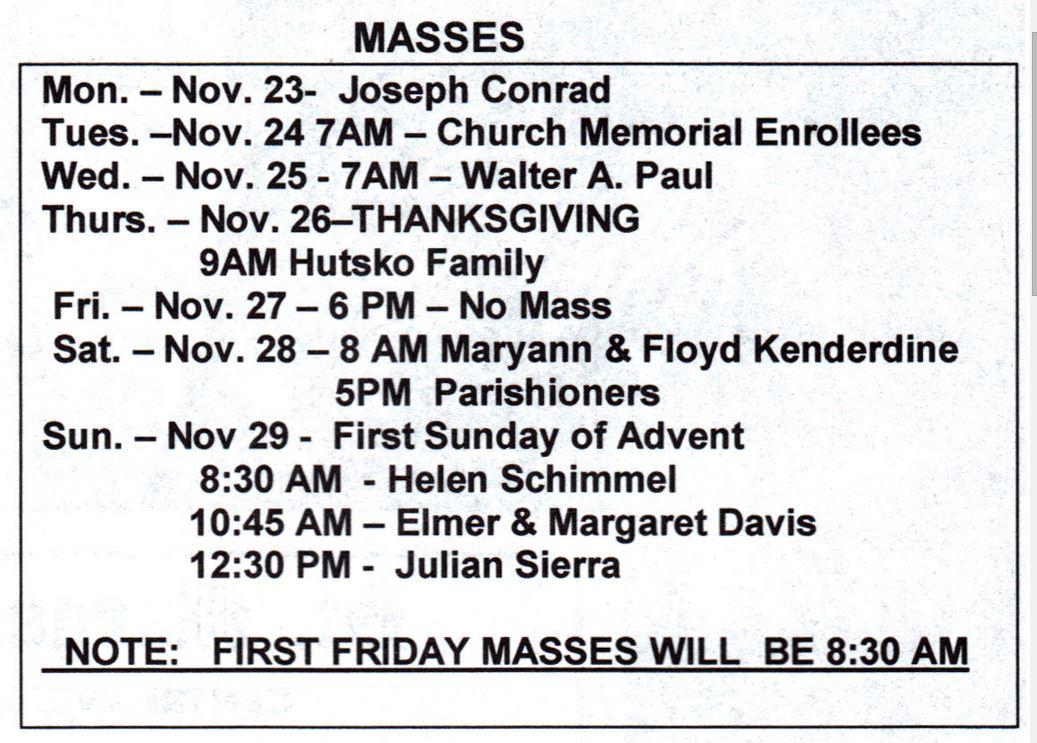 mass for week